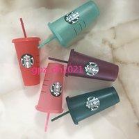 Starbucks in plastica tazza flash tazza 24 once / 710ml colore trasparente cambiamento di plastica bevanda succo con labbra paglia magica caffè personalizzato dhl olnxb
