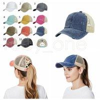 Frauen Hüte Baseballmütze Pferdeschwanz gewaschener unordentlicher Brötchen Hüte Snapback Mode Cap Ball Caps Casual Sommer Sun Visiere Cowboy Hut Party Hüte RRA4158