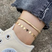 Anklets Bohemian Geometric Gold Flat Snake Chains Anklet Set For Women Summer Beach Ankle Bracelet Foot Chain Jewelry