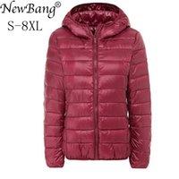 Newbang marca tamanho grande 7xl 8xl mulheres down casaco mais ultra luz para baixo jaqueta mulheres outono inverno encapuçado palackx1016