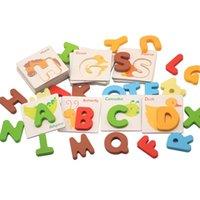 Juli's Song 26 stks Houten Geometrische Shapes Montessori Puzzel Sorteren Bricks Preschool Leren Educatief Speelgoed Speelgoed voor kinderen H1009