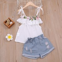 Clothing Sets Summer Flower Off Shoulder Top + Ripped Denim Shorts 2Pcs Children's Suit Casual Fashion Girls Outfit Kids Clothes