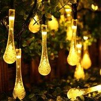 Lámparas solares lágrimas de lágrima de agua de cadena de agua Gazebo gumble gumble gowered color cambiante colgante hada impermeable led