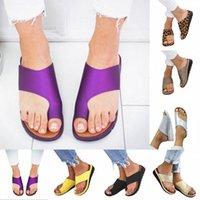 Femmes confortables chaussures plats plates plate-forme plate plate-forme décontractée gros orteil correction de pied sandales orthopédiques corrider @thopédiques retournement flop v2la #