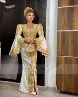 Traditional Kosovo vestidos Formales Arabic Satin Evening Dresses Flared Sleeves Applique Lace Mermaid Prom Dress robe de soiré