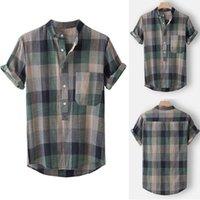 Men's Casual Shirts 2021 Summer European American Clothing Plaid Printed Shirt Cardigan Short Sleeve Collar Men