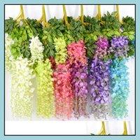 Decorative Flowers Wreaths Festive Party & Garden6Styles Elegant Artificial Silk Wisteria Flower Vine Rattan Garden Home Wedding Decor Suppl