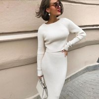 Casual Dresses Foridol Knitted Sweater Dress Suits Women Autumn Winter Ribbed White Long Maxi Ladies Bodycon 2021