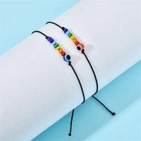 Partihandel Bohemian Rainbow Pearl Shell Butterfly Armband Svart Rope Flätat Stickning Handchain Justerbart Armband 1191 B3