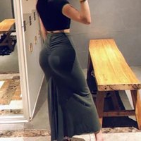 Skirts Fashion Women Elastic Tight Pleated Pencil Skirt Solid Color Sexy Temperament Stretch High Waist Long 2021 Autumn
