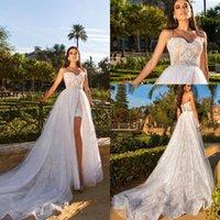 2021 vestidos de noiva de praia com trens destacáveis espaguete mini short plus size vestidos nupciais personalizados