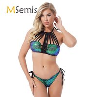 One-Piece Suits Womens Swimsuit Two-piece Swimming Suit Lace-up Shiny Sequin Bikini Swimwear Halter Strappy Padded Bra With Briefs Bathing
