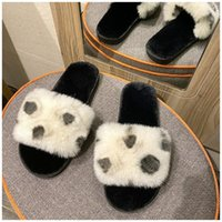 New SUOJIALUN Fashion Faux Fur Women Slippers Winter Warm Plush Slides Ladies Shoes Slip on Home Slipper Female Flip Flops Slide C0313