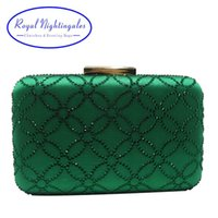 Royal Nightingales Bolso y bolsos de embrague de noche de cristal grande para bolsos de bolsos para mujer Emerald Green Navy Blue 210907