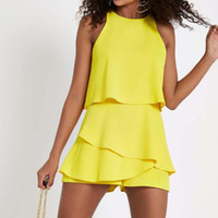 Donne sexy Chiffon Pagliaccetti Tuta Solido Off Spalla O Collo Hollow Out Tunic Ruffle Playsuit Chiffon Mini Outfit WDC1919