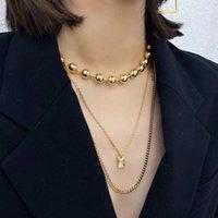 Colares de pingente Minar Punk Hip Hop Chunky Cadeia de Corrente Retângulo Colar Coin para Mulheres Multi-Camada Gold Beads Choters 2021