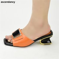 Dress Shoes Fashion Orange Color Wedding For Women Simple Party Prom Summer Sandals Italian High Heels Autumn Slipper