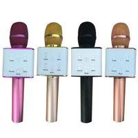 Bluetooth Q7 sem fio Microfone Karaoke Speaker Versão High-end Mic KTV Player Telefone Mike para Conferência de Fase de Computador + Caixa de Varejo