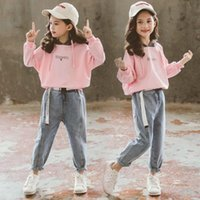 Clothing Sets Fashion Clothes Set For Kids Girls Autumn Hoodies Tops And Jeans Trousers Teenage Cotton Pullover Coats 2pcs Baby Tracksuits