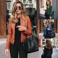 Women's Jackets Ladies Jacket Leather Coat Standing Collar Fashion PU Suit