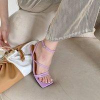 2020 zomer mode dunne riem open teen kat hak schoenen vierkante hoofd eenvoudige temperament woord gesp middelste hak vrouwelijke sandalen 20ir #