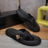 Fashion High Select materiall men's summer sandal quality assurance leather black rivet metal buckle design decoration size 38-45