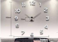 Decoração de casa grande número espelho relógio de parede moderno design grande relógio de parede 3d relógio de parede exclusivo presentes DHB5336