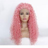 سيدة الوردي kinkly مجعد الشعر الاصطناعية الباروكات طويلة مقاومة للحرارة الألياف الأفرو مجعد الشعر مع 13 * 5٪ في الجبهة جودة عالية الشحن مجانا