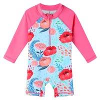 One-Piece Suits BAOHULU Baby Toddler Swimsuit Long Sleeve One Piece Swimwear Zip Rash Guard Sun Protection UPF 50+ Swimming Bathing Suit