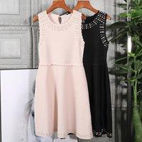 Kadın Tasarımcı İnciler Boncuk Örme Kazak Elbise Kolsuz A-Line Zarif Pembe Siyah Elbiseler 2021 Sonbahar