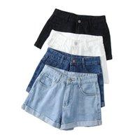 Shorts femininos verão mulheres larga perna clássico cintura alta preta denim casual cor sólida cor branca azul solto jeans