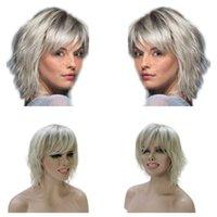 Женские короткие серебряные серебряные парики Синтетический термостойкий натуральный парик Хэллоуин серебристый серый эльф короткий парик термостойкий волокна ежедневный парик