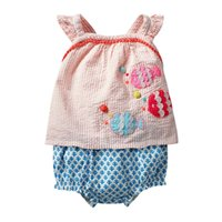 Kleine Maven Sets Sommer Baby Mädchen Kleidung Baumwolle Kinder Sets Tier Fisch Applique T-shirt + Shorts Boutique Outfits Kits 210316