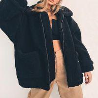 Женщины известный шерстяной шерсть из искусственного меховой куртки осень зима мягкая теплая верхняя одежда мода повседневная молния карманы чистый цвет отворота