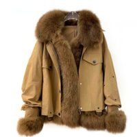 OFTBUY 2021 New Winter New Style Real Fur Fox Fur Coat Woman Down Jacket Liner Tooling Style Casual Fashion Korean Streetwear