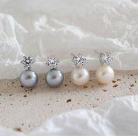 Stud Trendy 100% 925 Sterling Prata Natural Fresco Branco Branco Cinzento Brincos de Pérolas Para As Mulheres Cute Cristal Jóias