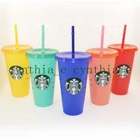 جديد 24 أوقية / 710 ملليلتر ستاربكس لون تغيير البلاستيك بهلوان reusable واضح شرب شقة أسفل كأس عمود شكل غطاء القش القدح بارديان