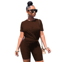 Summer clothing Women jogger suit two piece outfits short sleeve T-shirt shorts casual brown tracksuit plus size sportswear 4505