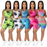 النساء ملابس تانك القمم السراويل التعادل صبغ الملابس الصيف مثير 2 قطعة مجموعات بلا أكمام تطبيع مصممي المحاصيل قمم الأزياء الرياضية الدعاوى 4627