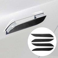 4 ШТ. Углеродное волокно Наклейка Автомобильная Ручка Дверной Дверной Ручкой Обложка Отделка Протектор 3D Углеродные Наклейки для Tesla Модель S Автомобильный Украшения