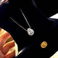 Luxe classic Designer S925 Sterling Sterling Top Qualité Diamond Drop Bouton Forme Zircon Pendentif Collier pour femme bijoux