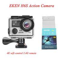 جودة عالية EIS تكنولوجيا eken HD 4K الرياضة الكاميرا الغوص ماء 14MP H6S عمل كاميرا 170 درجة زاوية واسعة wifi التحكم 2.4G عن بعد