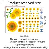 Wall Stickers 3D Waterproof Sunflower Sticker Living Room Bedroom Study Background Home Decor Decoration Removable