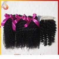 처리되지 않은 브라질 버진 머리카락 AFRO Kinky 곱슬 깊은 웨이브 인간의 머리카락은 일치하는 레이스 탑 클로저 자연 색상 무료 배송