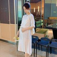 Vestidos de maternidad 6005 Verano Stripes verticales Vestido de algodón Chic Ins Instrucciones de moda Cintura delgada Una línea Ropa para mujeres embarazadas Embarazo
