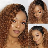 Curly Lace Closure Human Hair Wigs for Black Women Brazilian Short Bob Wig Honey Blonde Front Plucked with Natural Hairline12 Inches