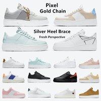 air force 1 Pixel dunk baja cadena de oro zapatos para correr para hombre dunks cumbre plataforma blanca Stitching Sketch Pack Zig Zag mujeres zapatillas deportivas