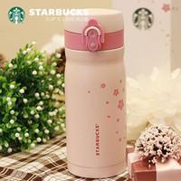Japan Style Starbucks Pink sakura stainless steel Vacuum cup 355ML Cherry blossoms accompanying mug Tumbler for coffee water girl gift