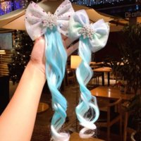 Blue Snowflake Bow Knot Hairpiece Hair Clip Barrettes Cartoon Wig Children Girl Bobby Pin Hairpin Cosplay Princess Fashion Jewelry will and sandy