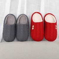Slipper Winter Warm Kids Knitting Wool Slippers Home Couple Plush House Indoor Shoes Big Size Soft Comfortable
